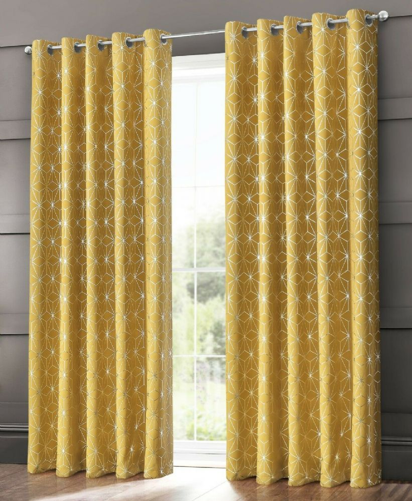 GEOMETRIC STAR METALLIC LIVINGROOM BEDROOM THERMAL BLACKOUT RING TOP EYELET CURTAINS OCHRE